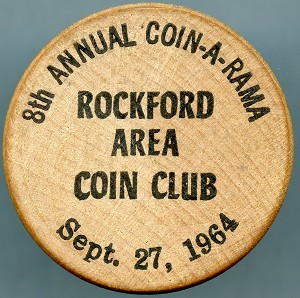 Wooden Nickel 8th Annual Rockford Area Coin Club 1964