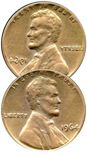 1964 Double Sided Lincoln Cent replica - Heads