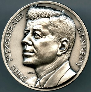 John F Kennedy High Relief Medal silvered bronze 2""