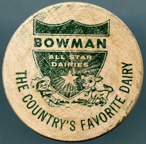 Bowman All Star Dairies Wooden Nickel