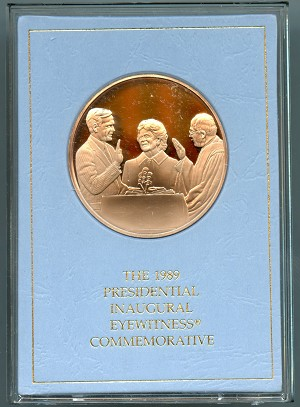 The Franklin Mint 1989 George H W Bush 41st Presidential Inaugural Medal Bronze