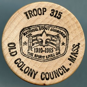 Boy Scout Troop 315 - Old Colony Council, Mass., Wooden Nickel