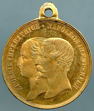 1858 Victoria & Albert's visit to Cherbourg Napoleon III - commemorative token