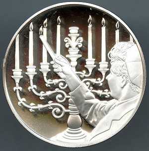 1973 Franklin Mint Hanukkah Sterling Silver Proof Medal