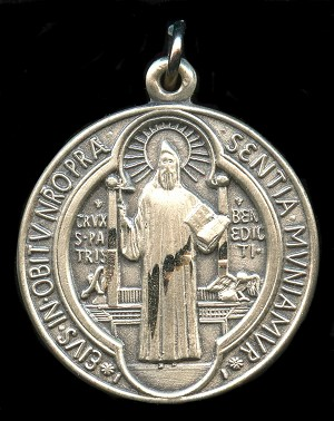 Saint Benedict Religious Pendant Sterling Silver
