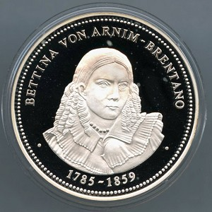1200 Year Anniversary of Frankfurt am Main Silver Medal - Bettina Von Arnim - Brentano