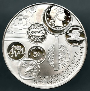American Numismatic Association 50Th Anniversary Sterling Commemorative Medal