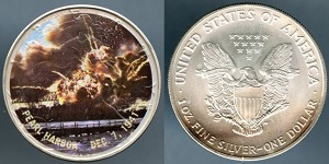 "2005 Colorized Silver American Eagle "" Pearl Harbor Dec. 7, 1941, 1 oz. .999 Fine Silver"