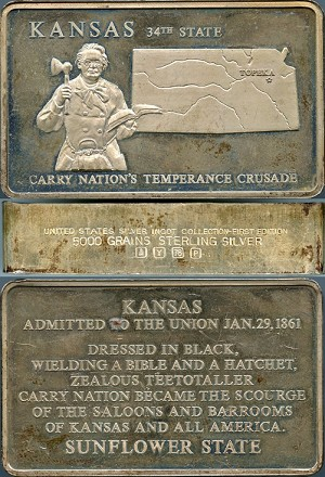 Franklin Mint -United States Silver Ingot Collection Kansas - First Edition 5,000 Grains