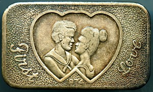 1974 First Love one ounce .999 fine silver bar