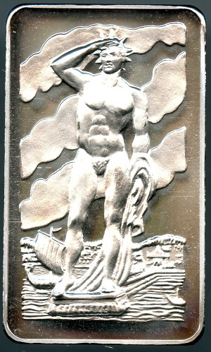 1973 The Colossus Of Rhodes ~7 Wonders~ 1 Troy Oz. .999 Silver Art Bar