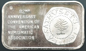 1973 Welcome to Boston ANA 82nd Anniversary 1 oz. .999 Fine Silver Art Bar