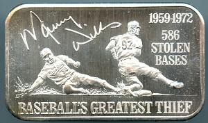1974 Maury Wills Baseball's Greatest Thief 586 Stolen Bases 1 oz. .999 Fine Silver Bar