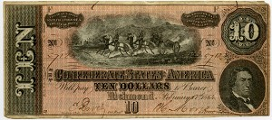 1864 $10.00 T68 Confederate States of America VF