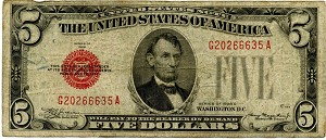 $5.00 U.S. Note (Legal Tender) Series 1928-C - G20266635A, F1528, VG