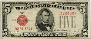 $5.00 U.S. Note (Legal Tender) Series 1928-F - I56551560A, F1531, Fine