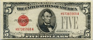 $5.00 U.S. Note (Legal Tender) Series 1928-F - H97385969A, F1531, VF