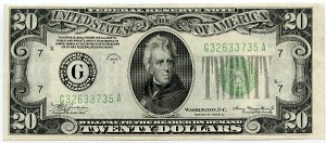 $20.00 Federal Reserve Note  1934 A - Chicago - G32633735A, F2055G, CH AU Mule Back Check Number 297