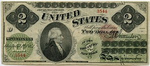 $2.00 U.S. Note (Legal Tender) Series 1862 - 3544, F41, Extremely Fine