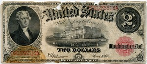 $2.00 U.S. Note (Legal Tender) Series 1917 - D90236513A, F60, Rag