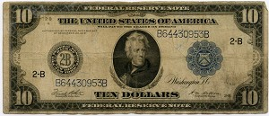 $10.00 Federal Reserve Note Series 1914 Blue Seal - B64430953B - New York, F911C, VG - Note was once wet and has a wrinkly wave