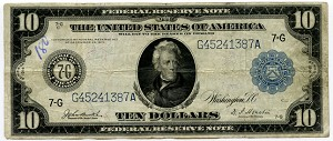 $10.00 Federal Reserve Note Series 1914 Blue Seal - G45241387A - Chicago, F930, Fine Ink on Obv. L.H. Corner
