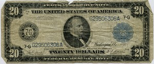 $20.00 Federal Reserve Note Series 1914 Blue Seal - G29506306A - Chicago, F990, Rag