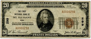 $20.00 National Currency Series 1929 #299 Mt. Pleasant Iowa, F1802-1, Fine