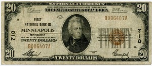 $20.00 National Currency Series 1929 CH#710 Minneapolis Minnesota, 1802-1, Fine