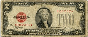 $2.00 U.S. Note (Legal Tender) 1928F - D53075025A, F1507, VG