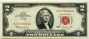$2.00 U.S. Note (Legal Tender) 1963 - A01359584A, F1513, CHCU