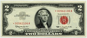 $2.00 U.S. Note (Legal Tender) 1963 - *00562106A, F1513 Star Note, AU/CU