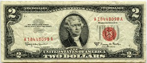 $2.00 U.S. Note (Legal Tender) 1963A - A18448098A, F1514, VG