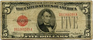 $5.00 U.S. Note (Legal Tender) 1928B - D93369388A, F1527, VG