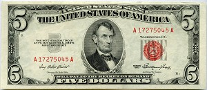 $5.00 U.S. Note (Legal tender) 1953 - A17275045A, F1532, XF/AU