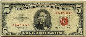 $5.00 U.S. Note (Legal Tender) 1963 - A41197151A, F1536, Fine