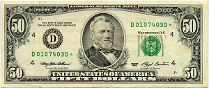 $50.00 Federal Reserve Note - Cleveland - 1993 - D01074030* - F2125D Star Note, XF