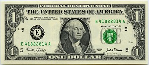 $1.00 Federal Reserve Note RADAR  Serial Number Choice CU Condition