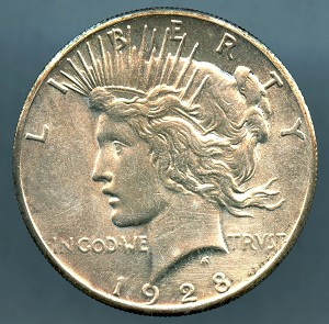 1928 Peace Dollar Choice AU-55