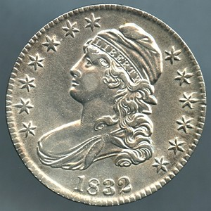 1832 Bust Half Dollar AU-50 cleaned