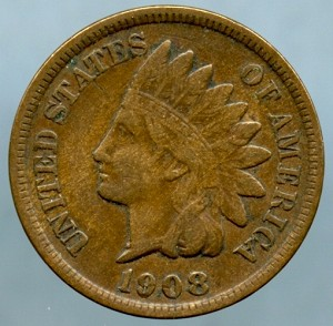 1908 S Indian Cent Choice VF-35