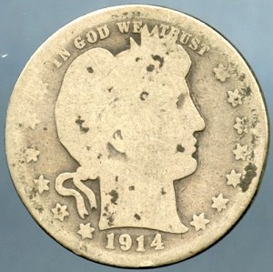 1914 S Barber Quarter About Good