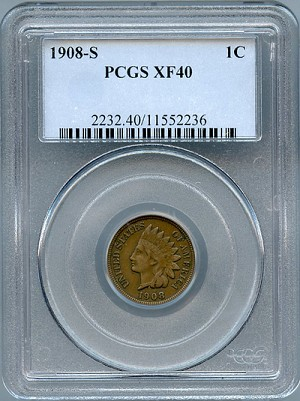 1908 S Indian Cent PCGS XF-40