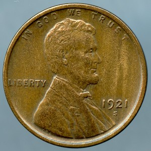 1921 S Lincoln Cent Choice XF-45