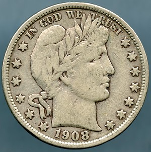 1908 D Barber Half Dollar VF-20