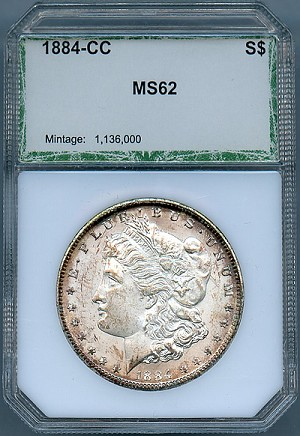 1884 CC Morgan Dollar PCI MS-62