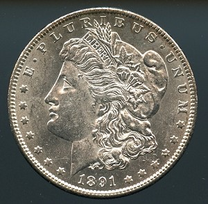 1891 Morgan Dollar Choice B.U. MS-63