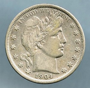 1904 Barber Half Dollar XF-40  Cleaned