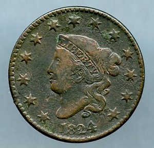 1824 4 over 2 Large Cent VF- porous