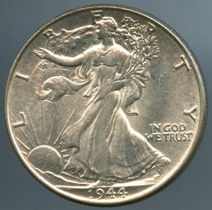 1944 Walking Half Dollar Choice B.U. MS-60